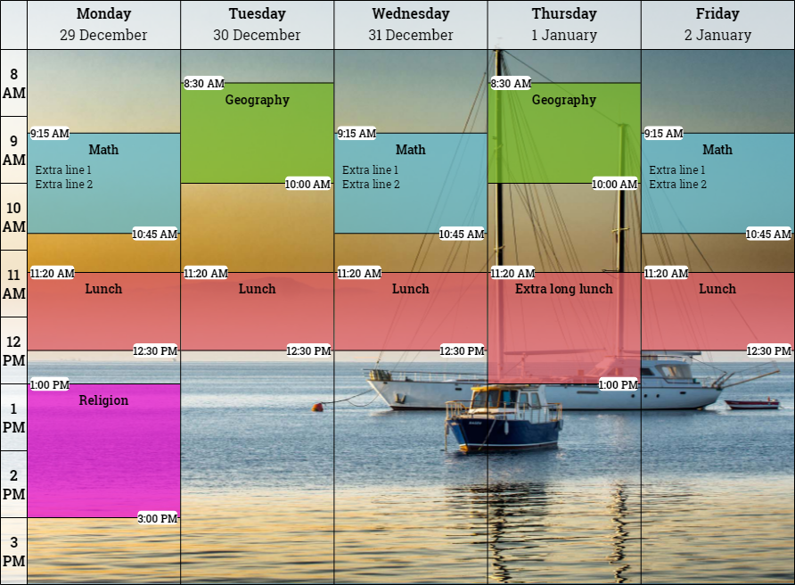 Preview of a finished schedule