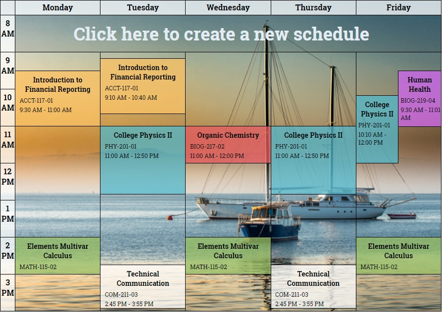 free online schedule maker create a daily or weekly